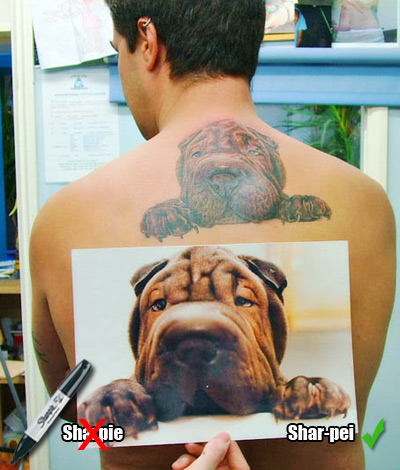 Definitely not texta'd on there. Thats a REAL Shar-Pei.